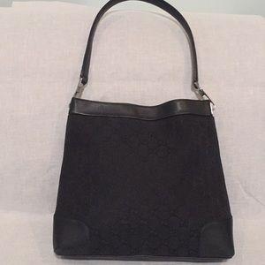 Vintage Gucci Blk Canvas Leather Monogram Handbag